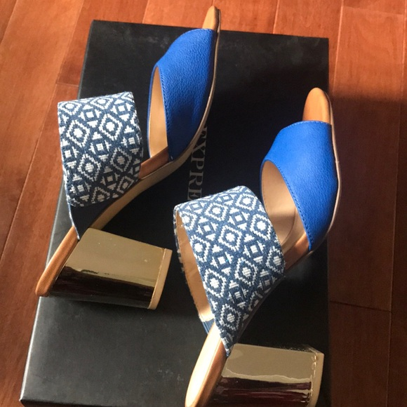 Blue and gold block heel